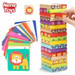 Nene Toys - Wooden Tumble Tower Game for Kids 4 in 1 with Animals and Colours - Family Board Game for Girls Boys Age 3-9 years old - Educational Toy that Develops Children's Cognitive Skills