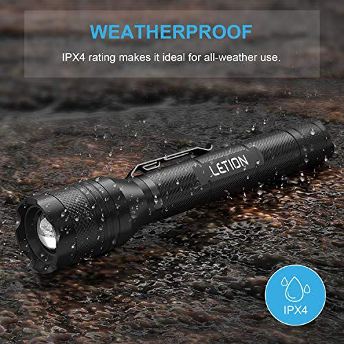 LETION LED Torch Rechargeable,Torches LED Super Bright Powerful 1500 Lumens 5