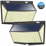 Nacinic Solar Lights Outdoor Garden 288 LED Outside Security Wall Light with Motion Sensor Solar Powered Waterproof 3 Modes (2 Pack)     [Energy Class A+++]