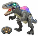 WISHTIME Remote Control Dinosaur Toys for Kids - Electronic Toy Walking Spray Mist Realistic Velociraptor Dinosaur Toys with LED Light Up