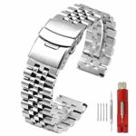Super Brushed & Polished 3D Solid Stainless Steel Watch Bracelet Band 20mm 22mm Security Double Deployment Buckle