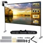 OWill Projector Screen with Stand Portable Projection Screen 16:9 for Indoor Outdoor Home Theater Backyard Cinema Trave (120 inch)