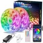 LED Strip Lights 50Ft Music Sync Color Changing 5050 RGB LED Light Strip with App Controlled