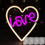 YIVIYAR Love LED Neon Light Neon Signs for Wall Decor with 4 Hooks