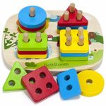 BettRoom Toddler Toys 1 2 3 Years Old Boy And Girl Solid Wood Preschooler Shape Color Judgment Help To Recognize Geometry Building Blocks Stack Classification Puzzle Children Baby Non-Toxic