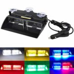 Multi-Coloured LED Law Enforcement Emergency Beacon Hazard Strobe Lights High Brightness 16LEDs 12V Warning Light for Truck Trailer Interior Roof/Windshield/Dashboard with Suction Cup (coloured)