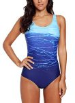 Happy Sailed Womens Gradient Color Double Criss Scoopback One Piece Swimsuit