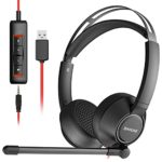 BINNUNE USB Headset with Microphone for Laptop Computer PC Cell Phone Zoom Skype Conference Call Center