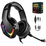 NEEDONE K19 PS4 Gaming Headset with mic for Xbox One PS5 Nintendo Switch PC Mac Tablet Breathing RGB Light weight Stereo Surround Sound black Adjustable Microphone headphone