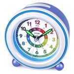 DTKID Children Silent Alarm Clocks Bedside Non Ticking Battery Powered Table Clocks for Boys Girls Luminous Large Display Snooze Light Function for Bedroom Office [Energy Class A+++]