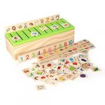 Zerodis Learning Toys Knowledge Classification Wooden Box Blocks for Children Preschool Math Early Education