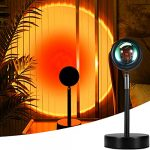 Mydethun Sunset Lamp Projection 180 Degree Rotation Rainbow Projector Lamp Romantic Visual Led Projector Night Light with USB Modern Floor Stand Living Room Bedroom Decor (Sunset Red)
