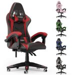 bigzzia Gaming Chair Office Chair Desk Chair Swivel Heavy Duty Chair Ergonomic Design with Cushion and Reclining Back Support (Red and Black)