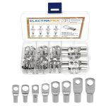 electrapick 60PCS Bolt Hole Tinned Copper Terminals Set-Wire terminals Connector Cable lugs Ring Battery SC Terminals Set Marine Grade Cold-Pressed Crimp Type (Silver