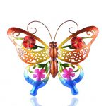 RYUNQ Metal Butterfly Garden Statue Ornament Hollow Out Wall Art Outdoor Yard Stakes Fence Hanging Decoration Vintage Decorative Sculptures (Red)