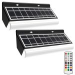 MEIHUA RGB Floodlights Solar Outdoor Wall Light Rechargeable with 360° RF Remote Control
