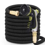 PLSDOIT Flexible and Expandable Garden Hose with 8 Function Nozzle No Kink Flexi bility Extra Strength with 3/4 Inch Solid Brass Fittings & Double Latex Core Rot Crack Leak Resistant (50 Feet/ 15M)