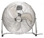 """Schallen Chrome Silver Metal High Velocity Cold Air Circulator Adjustable Floor Fan with 3 Speed Settings (18"""")"""