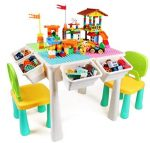 AMOSTING Kids Activity Height Adjustable Table and 2 Chair Set.Include 230Pcs Large Size Blocks Compatible with Big Blocks.Non-Toxic and Durable Plastic Toy Storage for Kids.