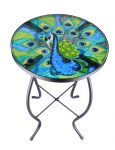 Patio Side Table Plant Stands Outdoor Accent Table Small Mosaic Table Glass Top Round Balcony Coffee Table